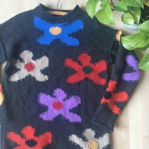 VINTAGE Graphic Floral Tunic Sweater Gray  S/M/L
